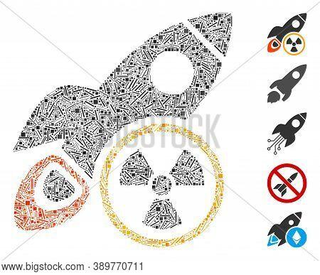 Line Mosaic Based On Atomic Rocket Science Icon. Mosaic Vector Atomic Rocket Science Is Formed With