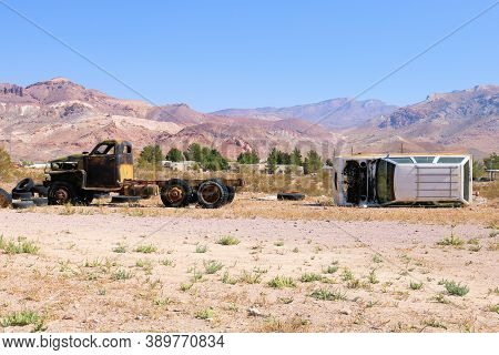 October 4, 2020 In Beatty, Nv:  Abandoned Cars And Trucks At An Unofficial Junkyard Taken On An Arid