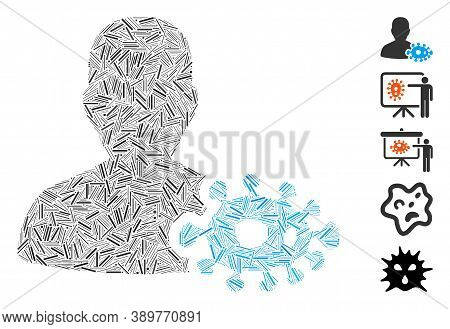 Hatch Mosaic Based On Bacteriologist Icon. Mosaic Vector Bacteriologist Is Created With Random Hatch