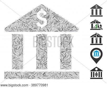 Dash Mosaic Based On Bank Building Icon. Mosaic Vector Bank Building Is Composed With Randomized Hat