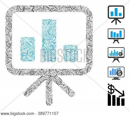 Hatch Mosaic Based On Bar Chart Display Board Icon. Mosaic Vector Bar Chart Display Board Is Compose