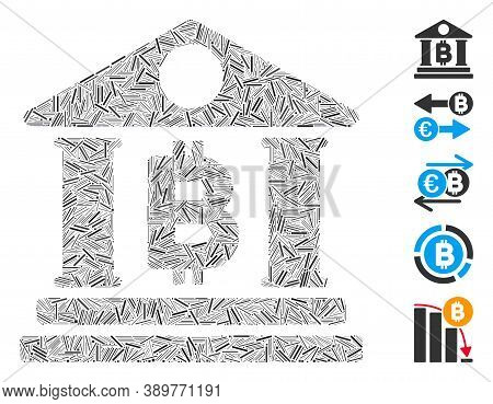 Hatch Mosaic Based On Bitcoin Bank Building Icon. Mosaic Vector Bitcoin Bank Building Is Composed Wi