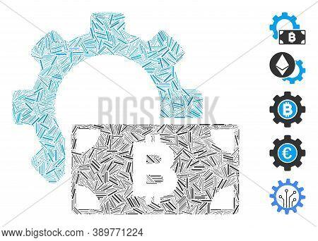 Line Mosaic Based On Bitcoin Cash Options Gear Icon. Mosaic Vector Bitcoin Cash Options Gear Is Comp