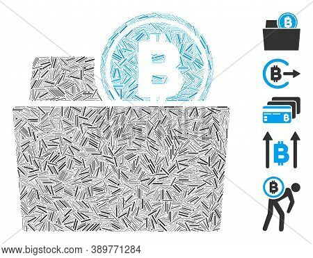 Hatch Mosaic Based On Bitcoin Folder Icon. Mosaic Vector Bitcoin Folder Is Composed With Scattered H