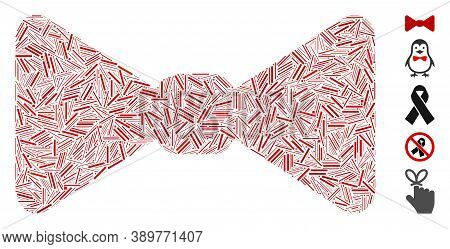 Hatch Mosaic Based On Bow Tie Icon. Mosaic Vector Bow Tie Is Designed With Randomized Hatch Dots. Bo