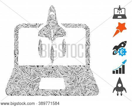 Hatch Mosaic Based On Business Startup Icon. Mosaic Vector Business Startup Is Created With Randomiz