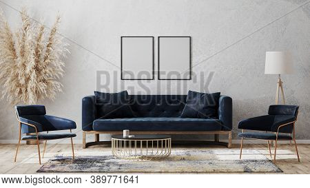 Two Blank Poster Frames On Gray Wall Mockup In Modern Luxury Interior Design With Dark Blue Sofa, Ar