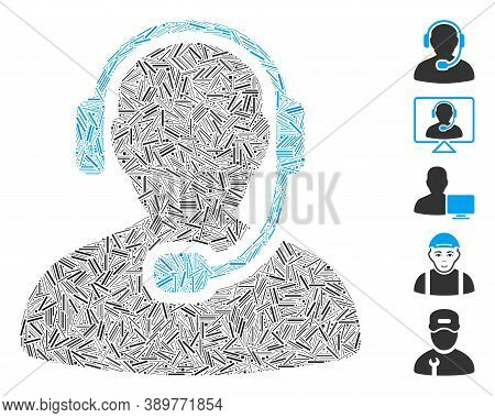 Hatch Mosaic Based On Call Center Worker Icon. Mosaic Vector Call Center Worker Is Created With Rand