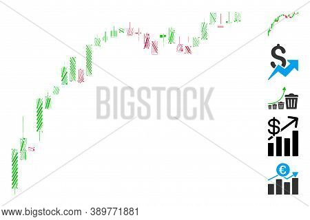 Line Mosaic Based On Candlestick Chart Growth Slowdown Icon. Mosaic Vector Candlestick Chart Growth