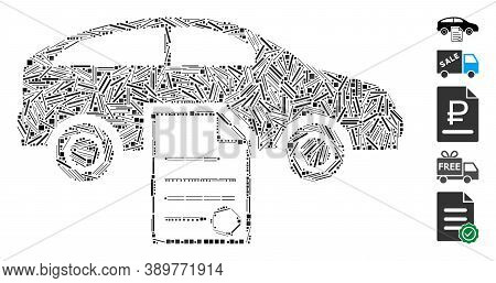 Line Mosaic Based On Car Sale Contract Icon. Mosaic Vector Car Sale Contract Is Composed With Scatte