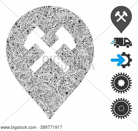 Hatch Mosaic Based On Car Service Icon. Mosaic Vector Car Service Is Formed With Scattered Hatch Dot