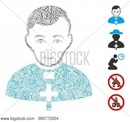 Dash Mosaic Based On Catholic Priest Icon. Mosaic Vector Catholic Priest Is Composed With Random Das