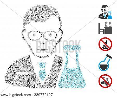 Hatch Mosaic Based On Chemist Icon. Mosaic Vector Chemist Is Designed With Random Line Elements. Bon