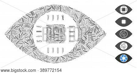 Hatch Mosaic Based On Chip Eye Lens Icon. Mosaic Vector Chip Eye Lens Is Designed With Scattered Hat