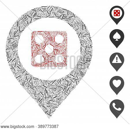 Hatch Mosaic Based On Dice Map Marker Icon. Mosaic Vector Dice Map Marker Is Designed With Random Ha