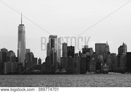 The New York City Skyline In Black And White.