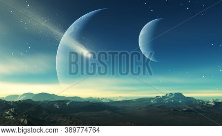 3d Rendered Space Art: Alien Planet - A Fantasy Landscape With Blue Skies And Stars