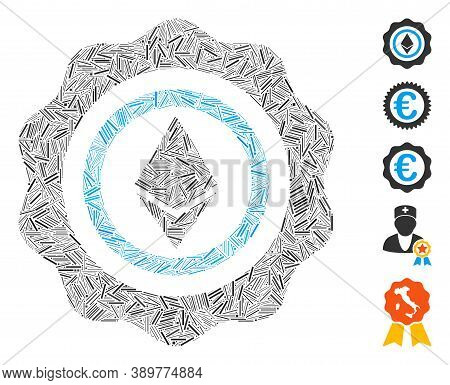 Hatch Collage Based On Ethereum Seal Icon. Mosaic Vector Ethereum Seal Is Composed With Randomized H