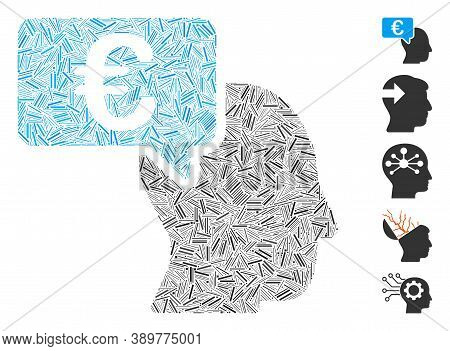Dash Mosaic Based On Euro Businessman Idea Icon. Mosaic Vector Euro Businessman Idea Is Designed Wit
