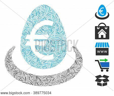 Hatch Mosaic Based On Euro Deposit Icon. Mosaic Vector Euro Deposit Is Created With Random Hatch Dot