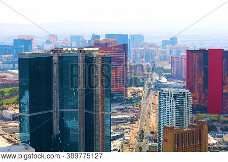 October 6, 2020 In Las Vegas, Nv:  View Of Colorful Contemporary Style High Rise Residential Buildin