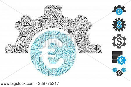 Hatch Mosaic Based On Euro Technology Icon. Mosaic Vector Euro Technology Is Formed With Random Hatc