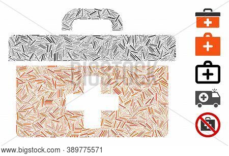 Hatch Mosaic Based On First Aid Toolbox Icon. Mosaic Vector First Aid Toolbox Is Designed With Rando