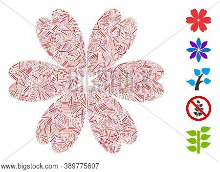 Dash Mosaic Based On Flower Icon. Mosaic Vector Flower Is Composed With Scattered Dash Elements. Bon