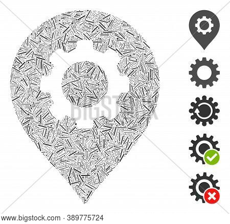 Dash Collage Based On Gear Factory Marker Icon. Mosaic Vector Gear Factory Marker Is Composed With S