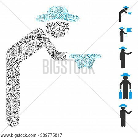 Line Mosaic Based On Gentleman Beggar Icon. Mosaic Vector Gentleman Beggar Is Designed With Scattere