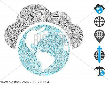 Hatch Mosaic Based On Globe Icon. Mosaic Vector Globe Is Formed With Randomized Hatch Dots. Bonus Ic