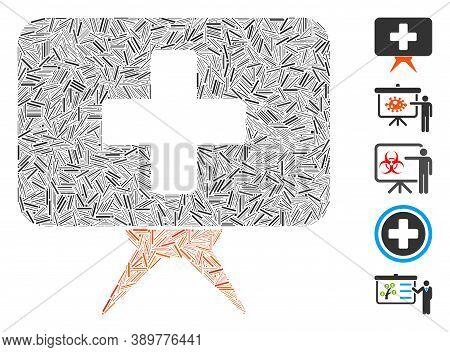 Hatch Mosaic Based On Health Care Presentation Icon. Mosaic Vector Health Care Presentation Is Desig