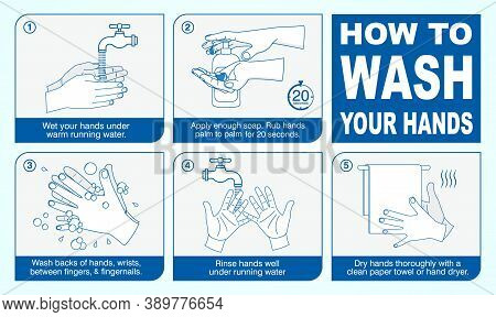 Set Of Wash Your Hand Mandatory Sign For Employee Or Warning Sign Corona Virus Poster Or 2019-ncov V