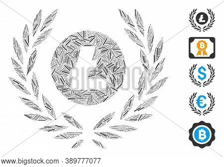 Line Mosaic Based On Litecoin Coin Laurel Wreath Icon. Mosaic Vector Litecoin Coin Laurel Wreath Is