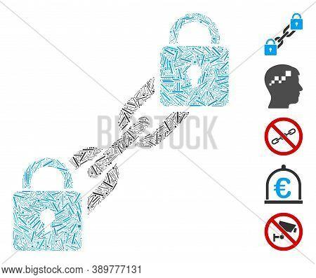 Hatch Mosaic Based On Lock Blockchain Icon. Mosaic Vector Lock Blockchain Is Created With Randomized