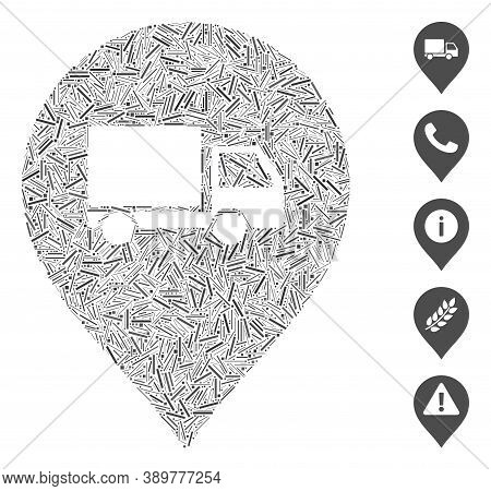 Hatch Mosaic Based On Lorry Marker Icon. Mosaic Vector Lorry Marker Is Designed With Scattered Hatch