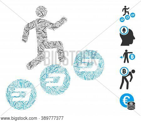 Line Mosaic Based On Man Climb Dash Coins Icon. Mosaic Vector Man Climb Dash Coins Is Created With R