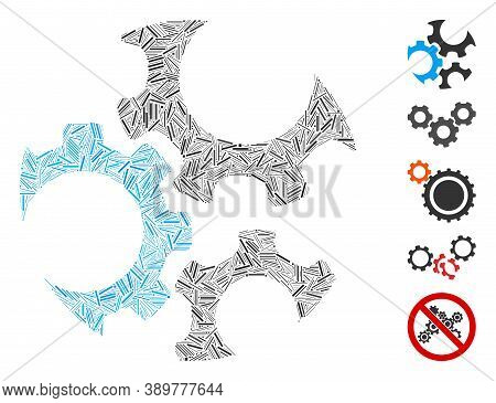 Hatch Mosaic Based On Mechanics Gears Icon. Mosaic Vector Mechanics Gears Is Designed With Random Ha