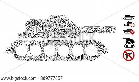 Hatch Mosaic Based On Military Tank Icon. Mosaic Vector Military Tank Is Designed With Random Hatch