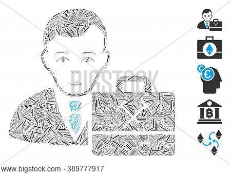 Hatch Mosaic Based On Mining Accounter Icon. Mosaic Vector Mining Accounter Is Formed With Randomize