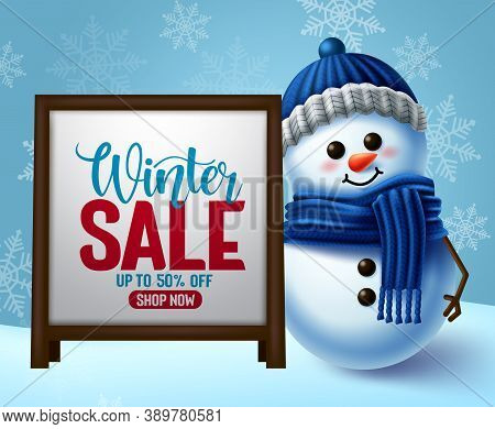 Winter Sale Vector Banner Template. Winter Sale Promotion In White Frame For Text With Snowman 3d Ch