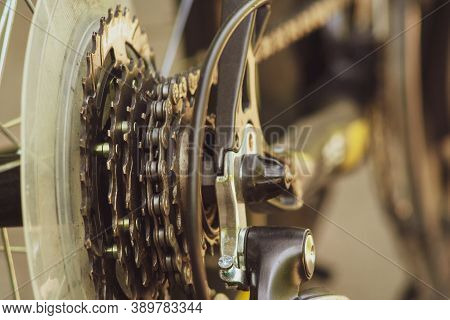 Closeup Of A Bicycle Gears Mechanism And Chain On The Star Wheel Of Mountain Bike. Rear Wheel Casset