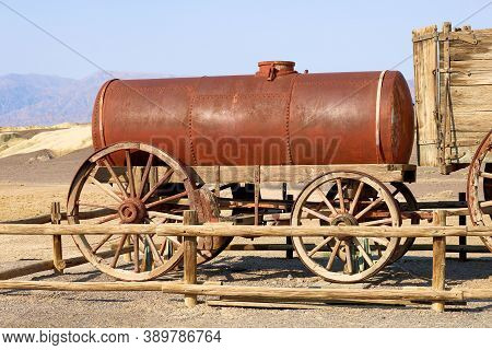 October 4, 2020 In Death Valley, Ca:  Vintage Mining Equipment To Mine Borax Including This Wagon Wh