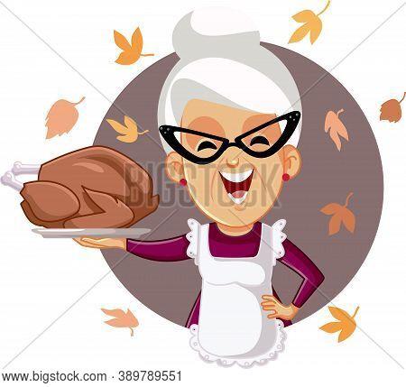 Happy Senior Woman Holding Homemade Thanksgiving Roasted Turkey