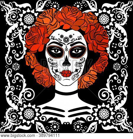 Sugar Skull Girl. Day Of Dead, Traditional Mexican Halloween, Dia De Los Muertos. Woman With Makeup