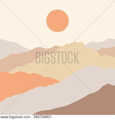 Aesthetic Landscape With Mountains. Boho Wall Decor. Minimalist Poster. Hand Drawn Vector Illustrati