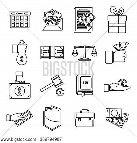 Corruption Bribery Icons Set. Outline Set Of Corruption Bribery Vector Icons For Web Design Isolated