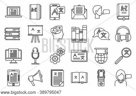 Linguist Speak Icons Set. Outline Set Of Linguist Speak Vector Icons For Web Design Isolated On Whit