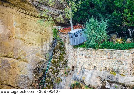 Hoist For Lifting Loads To Meteora Monastery Lockated In Cliffs Rocky Formations In Thessaly Greece.