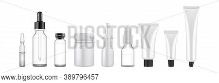Realsitic Cosmetic Packages Set. Collection Of Realism Style Drawn Plastic Bottles For Beauty And Sk